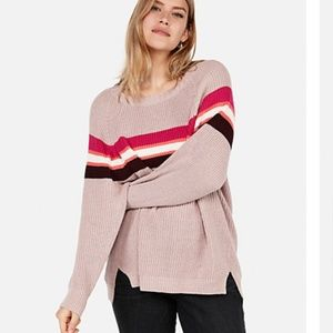 Pink Stripe Shaker Knit Tunic Sweater